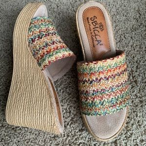 COPY - Sbicca woven sandal wedge size 9